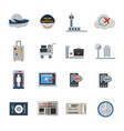 airport icons set flat icons set for website and vector image vector image