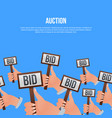 auction poster with hands holding bid signs vector image vector image