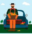 bearded man and eco food delivery cartoon car vector image