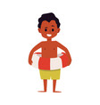 black boy cartoon character with a lifebuoy flat vector image vector image