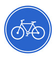 blue bicycle lane sign vector image vector image