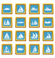 boat and ship icons azure vector image vector image