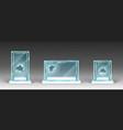 broken glass showcases displays exhibit stands vector image vector image