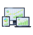 Business graph on monitor laptop and tablet vector image vector image