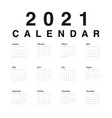 calendar 2021 year black numbers days on white vector image