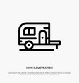 caravan camping camp travel line icon vector image vector image