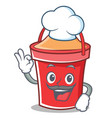 chef bucket character cartoon style vector image vector image