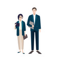 couple of people dressed in business clothes or vector image