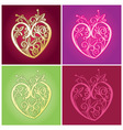 curve floral heart for valentine ornament vector image vector image