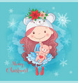 cute christmas card with cartoon girl with teddy vector image