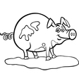farm pig cartoon for coloring book vector image vector image