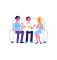 flat man woman chatting at sofa vector image