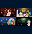 four background designs for muslim festival eid vector image vector image