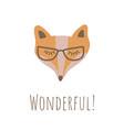 funny fox face retro style vector image vector image