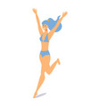 girl in a swimsuit runs to sea isometric vector image