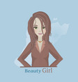 girl of flat style smiling vector image