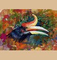 head of tropical bird on colorful watercolor vector image