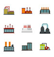 industrial building icons set flat style vector image vector image