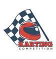 karting competition logotype with helmet for races vector image vector image