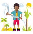 man with machete flat style colorful vector image