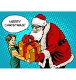 merry christmas santa claus gift gives child vector image vector image