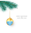 new year greeting card green pine branch with vector image vector image