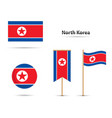 north korea flags vector image vector image
