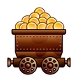 Old mine cart with coins vector image vector image