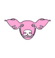 pig face linear line style endless line pink vector image