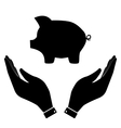 Pig sign in hand icon vector image vector image