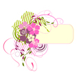 pink banner with flowers vector image vector image
