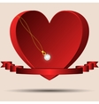 Red heart with a ribbon and a gold chain diamond vector image vector image