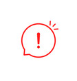 red linear attention icon like emphasis vector image vector image