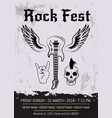 rock fest event advertising poster design vector image vector image