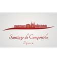 Santiago de Compostela skyline in red vector image vector image