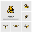 set of bee logo design hornets logo template vector image vector image