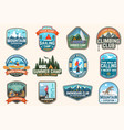 set sailing camp canoe and kayak club patches vector image vector image