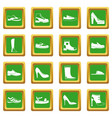 shoe icons set green vector image vector image