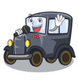 singing old cartoon car in side garage vector image