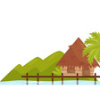 small bungalow on shore of ocean tropical island vector image vector image