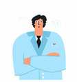 smiling male doctor cartoon character wearing a vector image vector image