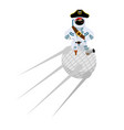 space pirate on satellite filibuster spaceman vector image vector image