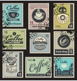 stamps on the theme of coffee vector image vector image