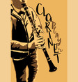 the boy playing clarinet poster vector image vector image