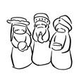 three kings of bethlehem nativity concept vector image vector image