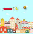town with buildings abstract flat design city vector image vector image