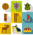 Vacation in Sweden icons set flat style vector image vector image