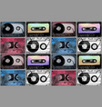watercolor cassettes pattern vector image vector image