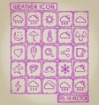 Weather Icon Doodle Set vector image