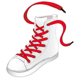 White Sneakers with Red Shoelaces vector image vector image